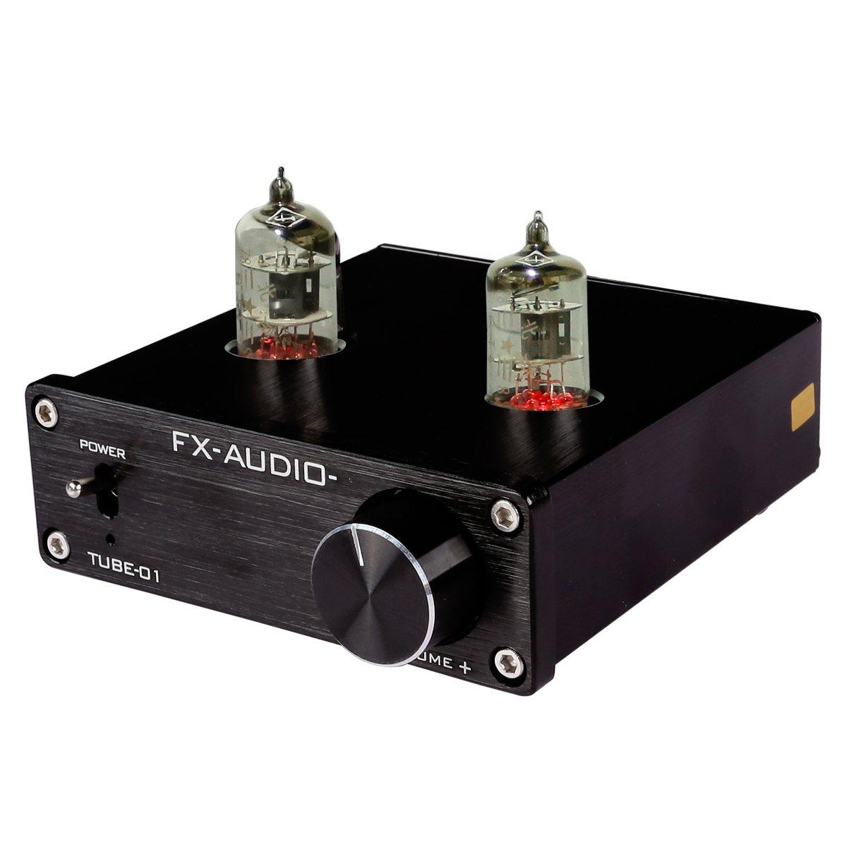 JouerNow FX Tube-01 Pre-Amplifier HIFI Stereo Buffer Preamp, with Mini 6J1  Valve & Vacuum Tube, 12V (black)