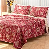 Classic Bedding Sets 3 Pieces Cotton Printing Floral Patchwork Quilt Set Queen King Red
