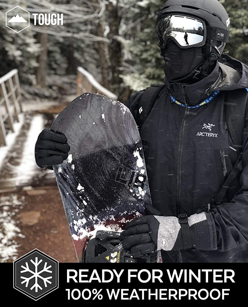 Waterproof /& Windproof Winter Snowboard Gloves for Men /& Women for Cold Weather Skiing /& Snowboarding Ski /& Snow Gloves With Wrist Leashes Nylon Shell Thermal Insulation /& Synthetic Leather Palm