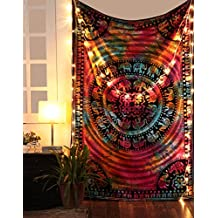 Tie Dye Wall Tapestry Multi Color Wall hangings Indian Bespread Psychedelic Tapestries Dorm Room Decor Bohemian By Rajrang