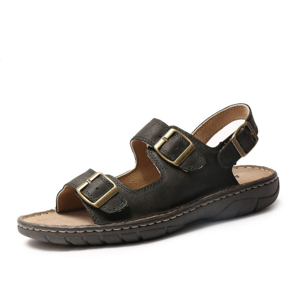 Sommer Sandalen Strand Schuhe Tauml;gliche Beilauml;ufige Mauml;nner Schuhe Schnalle Flache Ferse Sandalen  39 EU Black