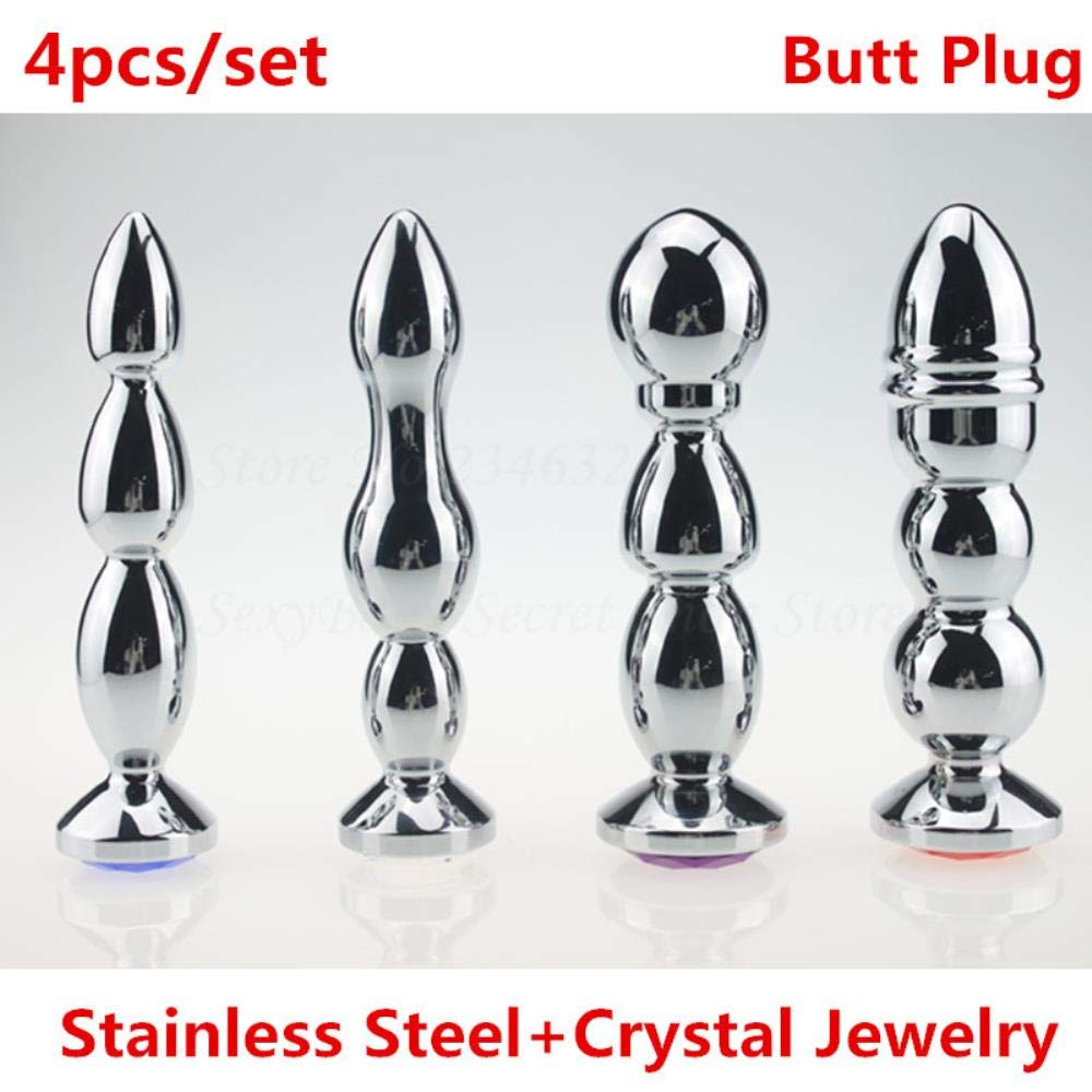 Sadiex 4pcs/Set Large Stainless Steel Anal Plug with Crystal Jewelry Sex Toys Metal Anal Masturbation Butt Plug Adult Toy for Women Men