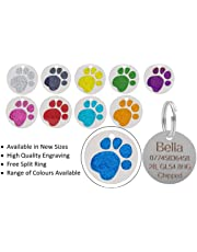 JK Personalised Engraved Round Glitter Paw Print Dog/Cat Pet ID Tag Small/Large (25mm - Standard, Blue)