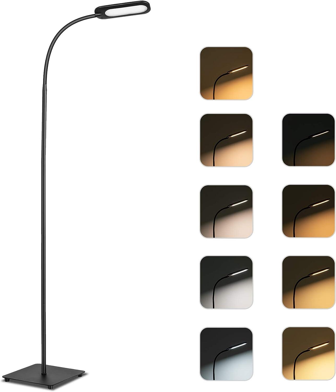 TECKIN Lampe, 12W 5 températures de couleur Luminosité 4 niveaux, lampadaire sur pied salon, chambre et bureau avec commande tactile, ampoule longue durée et col flexible [Classe énergétique A+]