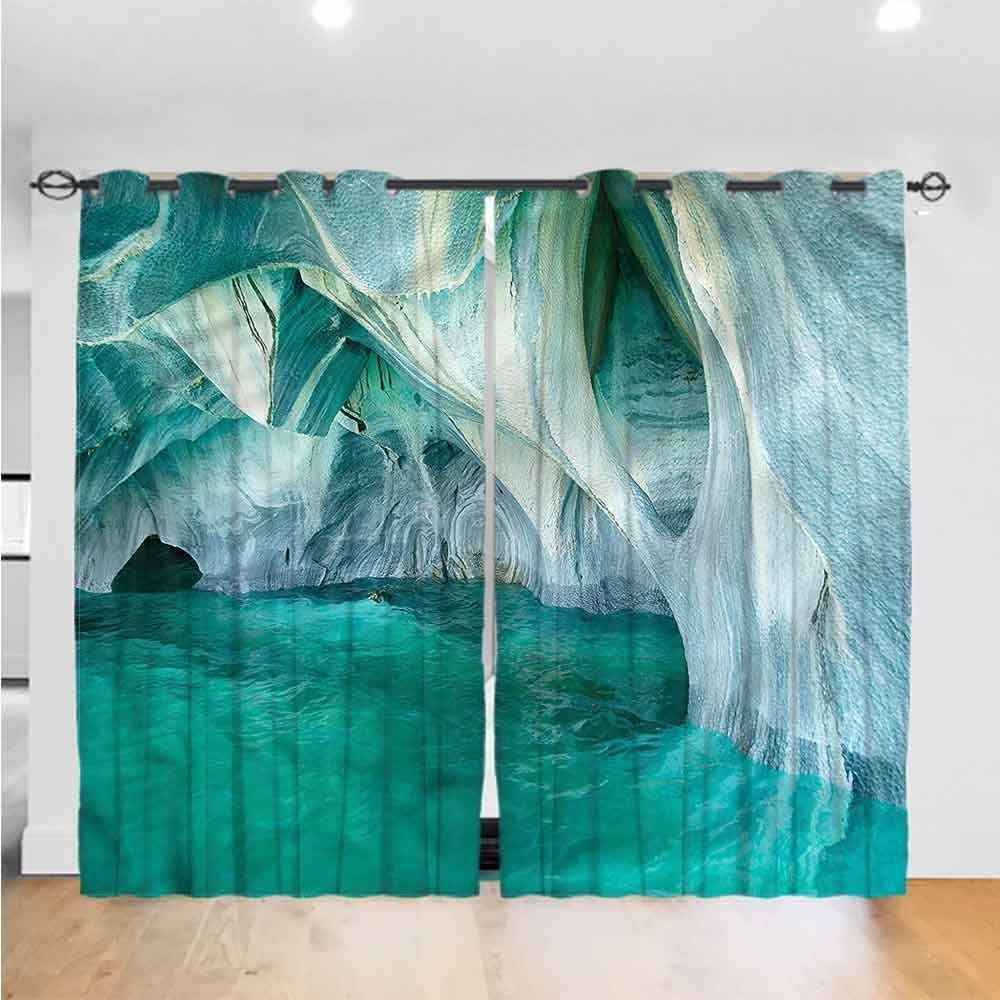 painting-home Window Curtains Nature, Marble Caves Lake Noise Reducing Grommet Curtain Thermal Insulated for Bedroom (2 Panels, W26 x L63 Inch/Panel)