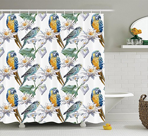 [Parrots Decor Collection Flowers and Parrot Big Leaf Plants Fragile Wild Environment Watercolor Painting Effect Art Polyester Fabric Bathroom Shower Curtain Set with Hooks] (Parrot Costume Ebay)