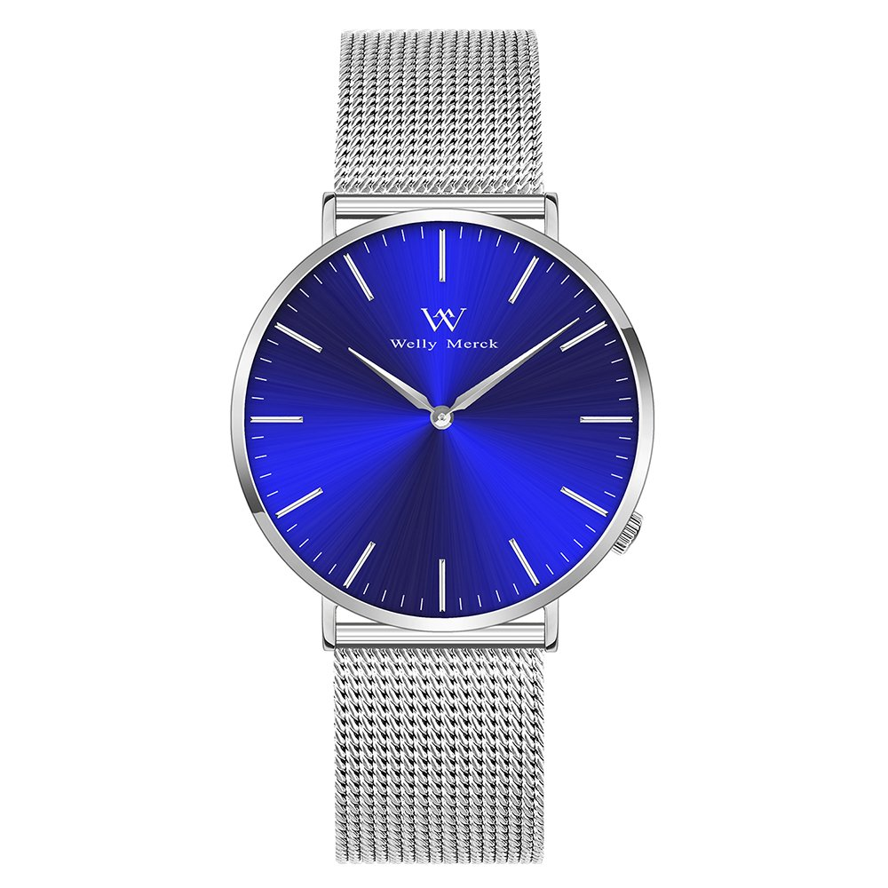 Welly Merck Swiss Movement Sapphire Crystal 42mm Blue Sunray Dial Men Luxury Watch Minimalist Ultra Thin Slim Analog Wrist Watch 20mm Silver Stainless Steel Mesh Band 164ft Water Resistant by Welly Merck
