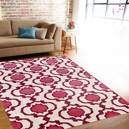 Rugshop New Modern Moraccan Trellis Soft Area Rug, 2' x 3', Pink/Red