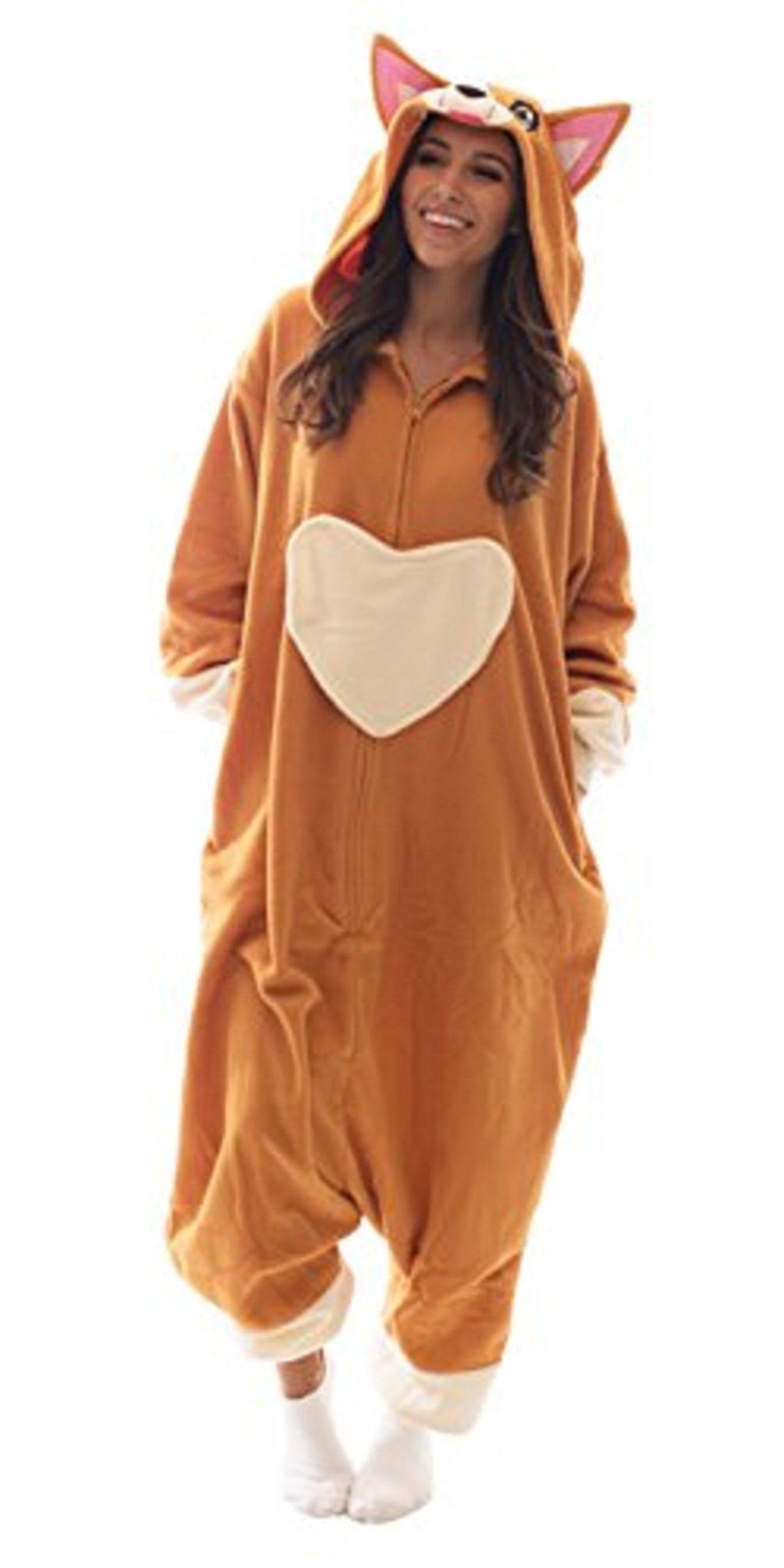 Bad Bear Brand Adult Onesie Corgi Animal Pajamas Comfortable Costume with Zipper and Pockets (Large)