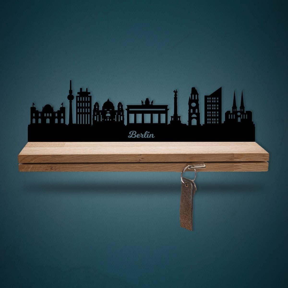 Stabiles /& Massives Schl/üsselbrett aus Eichenholz Moderner Schl/üsselhalter f/ür die Wand Gr/ö/ße 25 cm 100/% Made in Germany Schl/üsselleiste Holz mit Skyline Berlin Geschenk f/ür Stadtverliebte