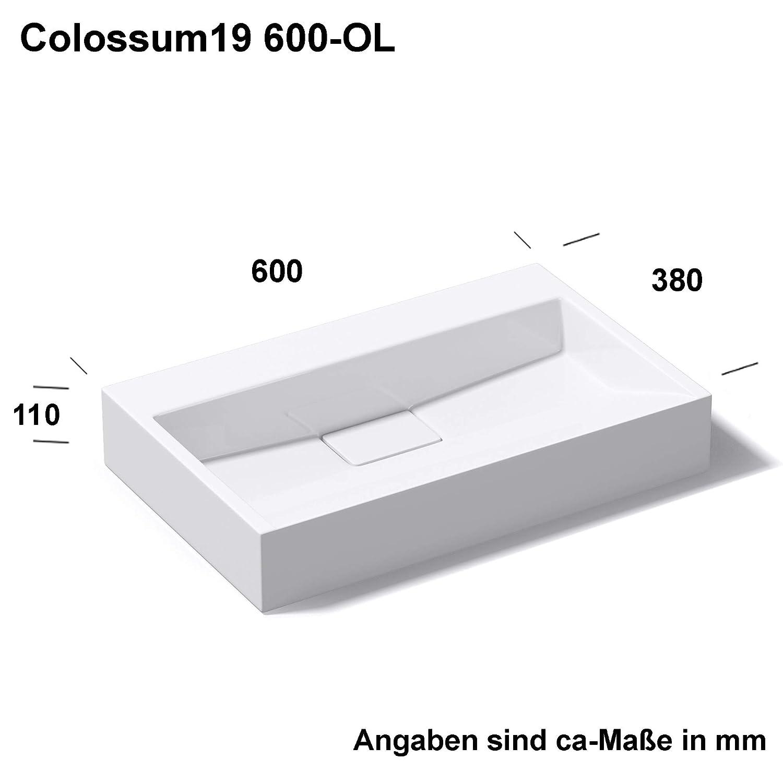 prof 46 cm rectangulaire blanc Larg: 120 cm haut 11 cm Sogood Lavabo vasque /à poser///à monter au mur /évier fonte min/érale Colossum 19-1200