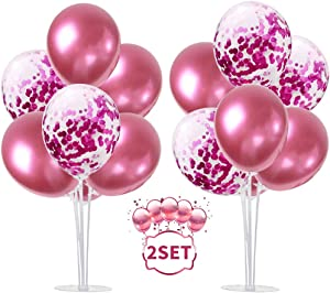 TONIFUL 2 Set Table Centerpiece Balloons Stand Kit Include Rose Gold Latex Confetti Balloons for Wedding Baby Shower, Graduation, Anniversary Women Girl Birthday Table Party Decorations