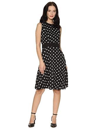 7a35f9baa3 AARA Women's Midi Black Polka Dot Print Crepe A Line Dress/Knee Length Midi  Dress/One Piece Dress/Ladies Long Dress/Midi Gown Dress/Midi Gown/Mini ...