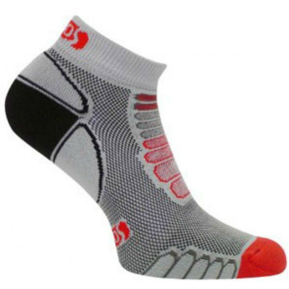 Eurosocks Sprint Silver Running Low Cut  Ultralight Weight Socks with Plantar Compression (Pair), Grey/Red, Medium