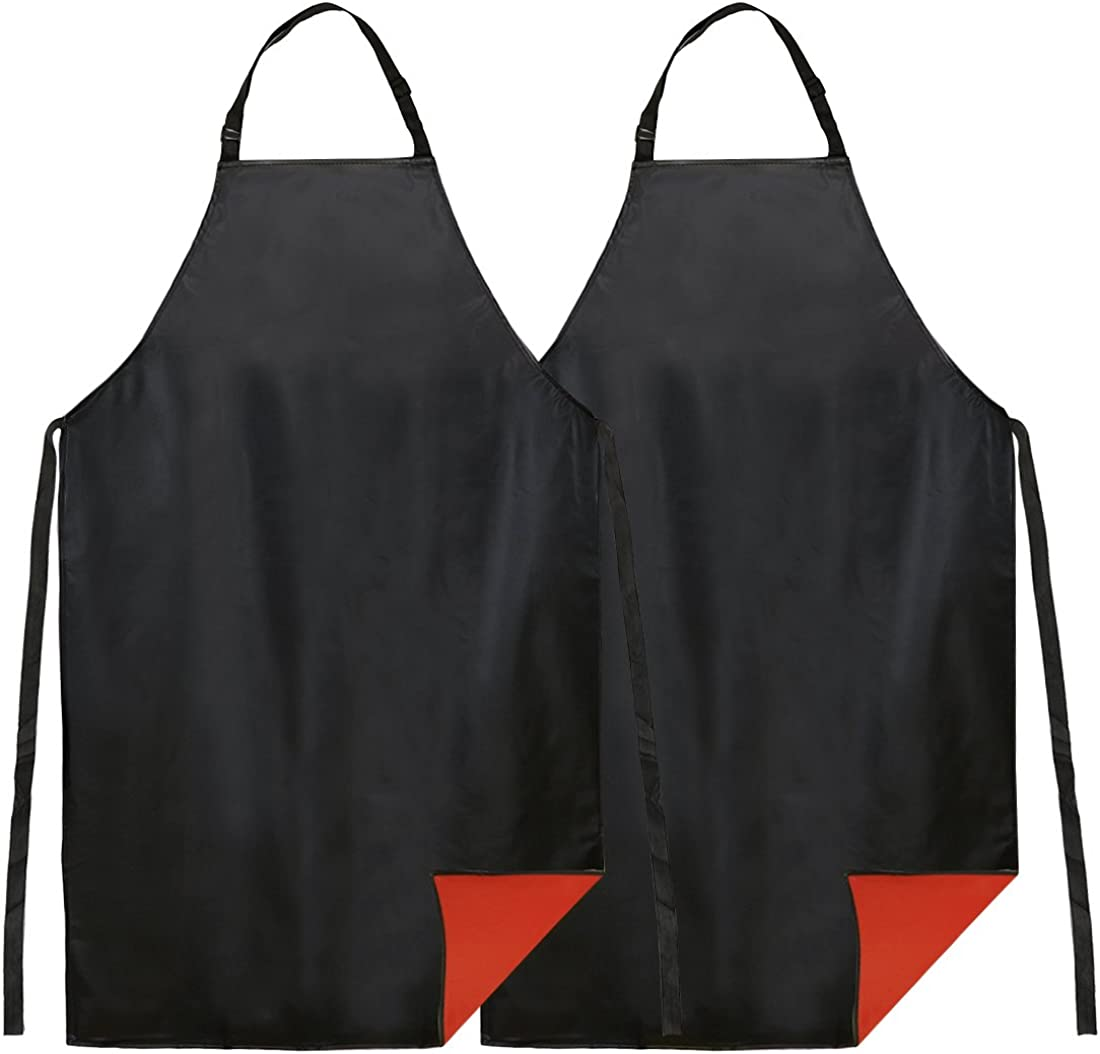 "kilofly 2pc Vinyl Extra Long 43"" Adjustable Waist Neck Ties Waterproof Apron"