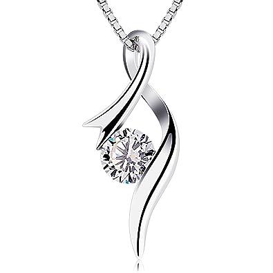 Btcher necklaces 925 sterling silver pendant necklaces cubic btcher necklaces 925 sterling silver pendant necklaces cubic zirconia twist heart jewellery aloadofball Images