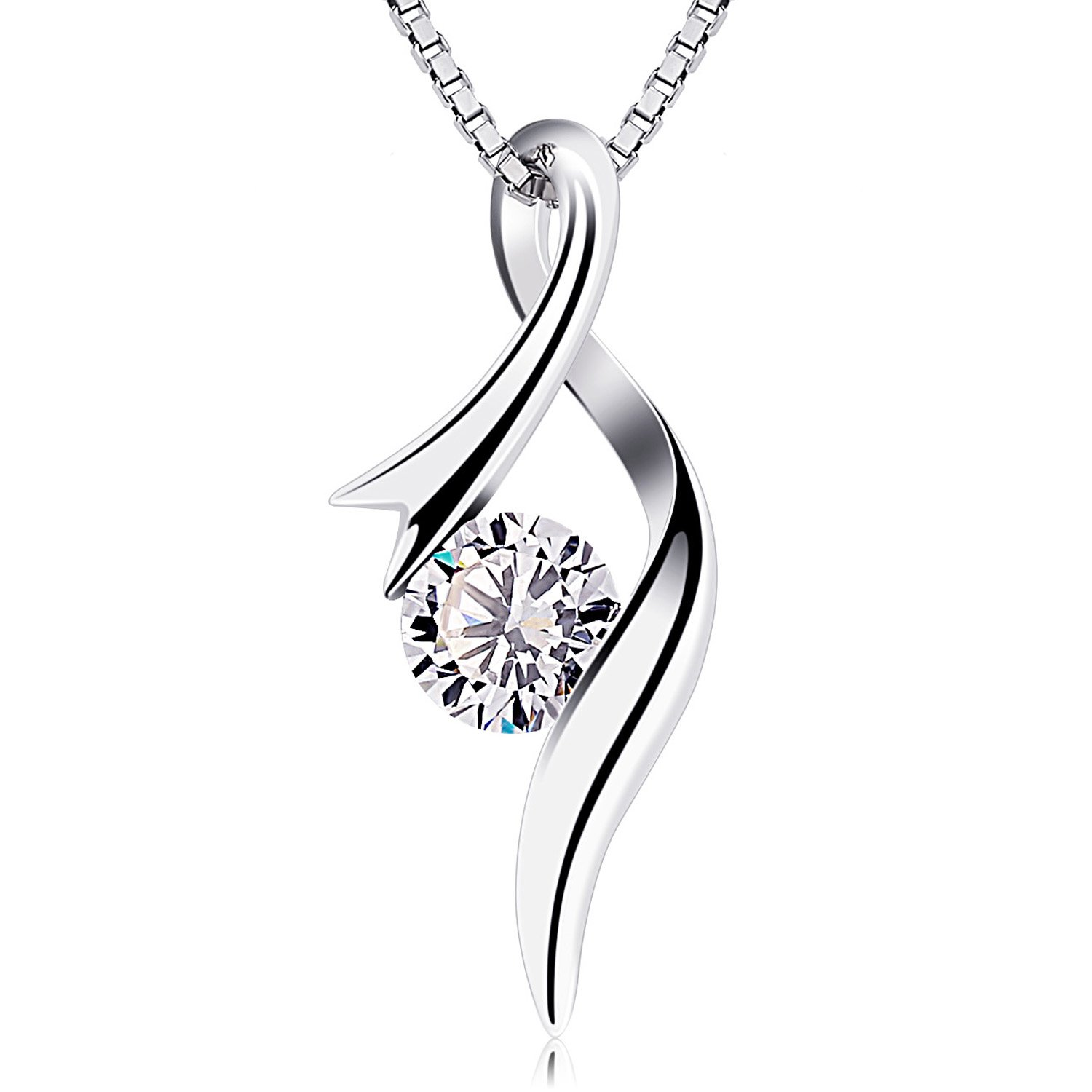 B.Catcher Necklaces 925 Sterling Silver Pendant Necklaces Cubic Zirconia Twist Heart Jewellery product image