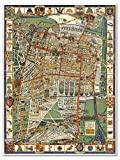 "Mapa de la Ciudad de Mexico - MEXICO CITY Map circa 1932 - measures 24"" high x 32"" wide (610mm high x 813mm wide)"