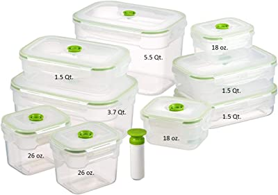 Lasting Freshness Vacuum Seal Food Storage Containers - Deep Freezer Food Sealer - Hand Held Vacuum Food System - Quick Seal Marinator - Rectangle - 19Pc