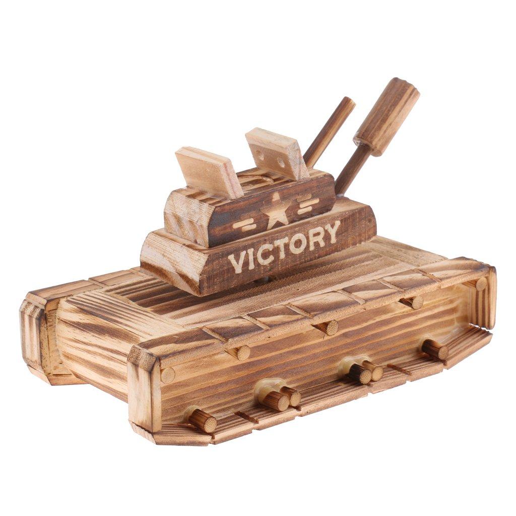 MonkeyJack Novel Wooden Rotating Tank Model Music Box Christmas Gift Clockwork Wind Up Boys Toy Home Desk Decor