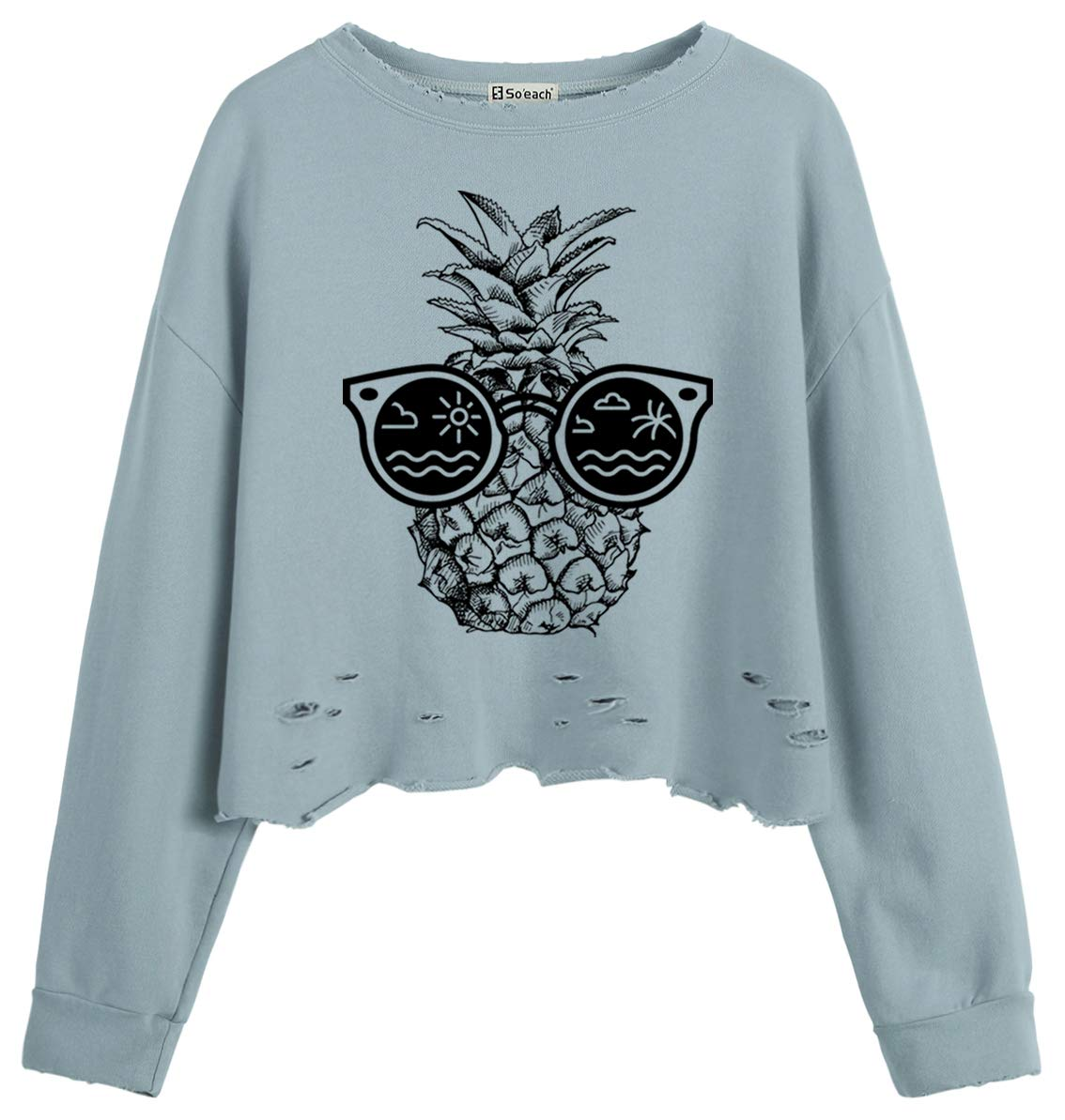 So'each Women Jumper Sweatshirt Sunglasses Pineapple Graphic Crop Top Blue