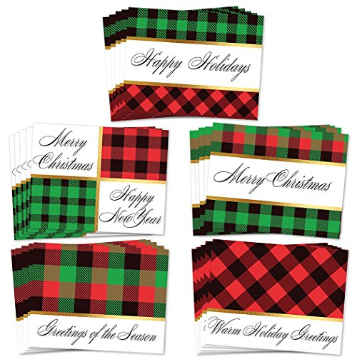 (25 Count Christmas Greeting Cards, Pack of 5 Assorted Traditional Plaid Holiday Designs, Season's Greetings Notecards with Envelopes, 25 Mixed Assortment Boxed Cards, Excellent Value by Digibuddha)