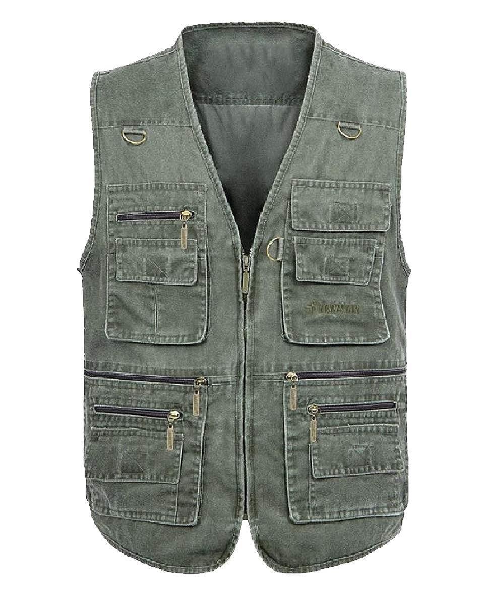 Abetteric Men Big and Tall Photography Vest Pockets Cowboy V Neck Bomber Jacket