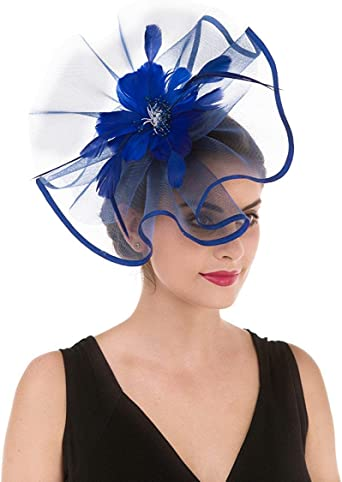 Fascinators Hat, Flower Mesh Ribbons Feathers Headband, Kentucky Derby  Wedding Tea Party Fascinator at Amazon Women's Clothing store