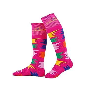bwiv Unisex alto rendimiento acolchado calcetines de esquí patinaje ciclismo invierno de acampada y protección, Unisex, color rosa, tamaño S: Amazon.es: ...