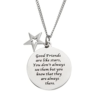 Friendship Pendant Necklace Amazon good friends are like stars stainless steel disc and good friends are like stars stainless steel disc and star friendship pendant necklace audiocablefo