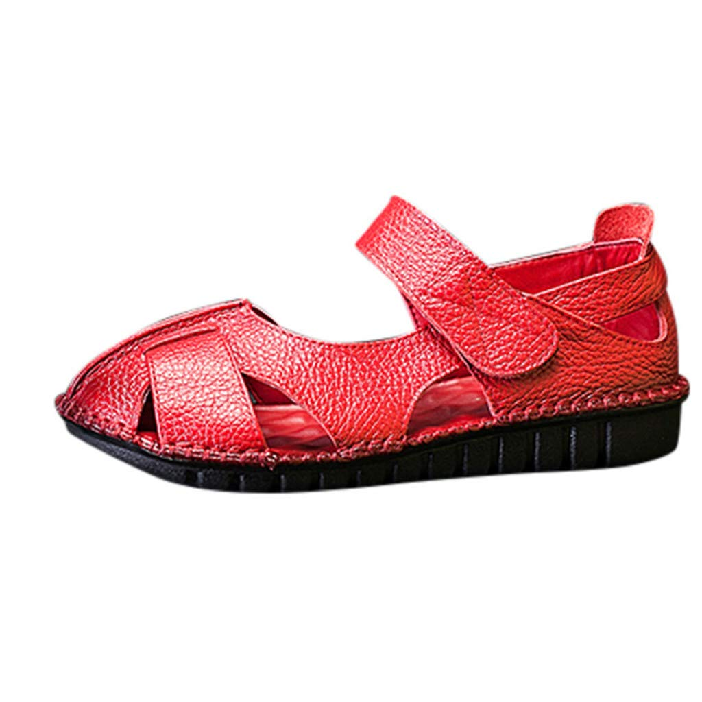 〓COOlCCI〓Women's Leather Sandals Flats Comfortable Summer Non-Slip Hollow Closed Toe Sandals Walking Driving Shoes Red