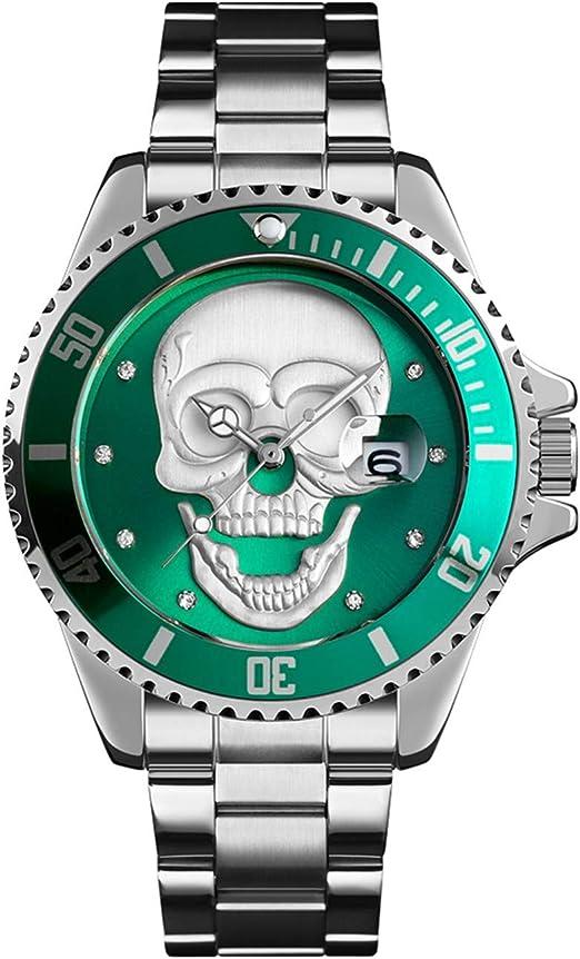 Armbanduhr mit grünem Zifferblatt, 3D Totenkopf Zifferblatt