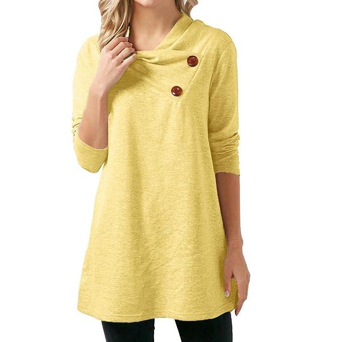 BaZhaHei Blouse, Shirt Blusa de Manga Larga con Botones de Manga Larga para Mujer Camiseta