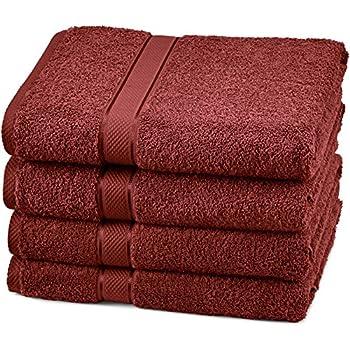 Pinzon Blended Egyptian Cotton 4-Piece Bath Towel Set, Cranberry