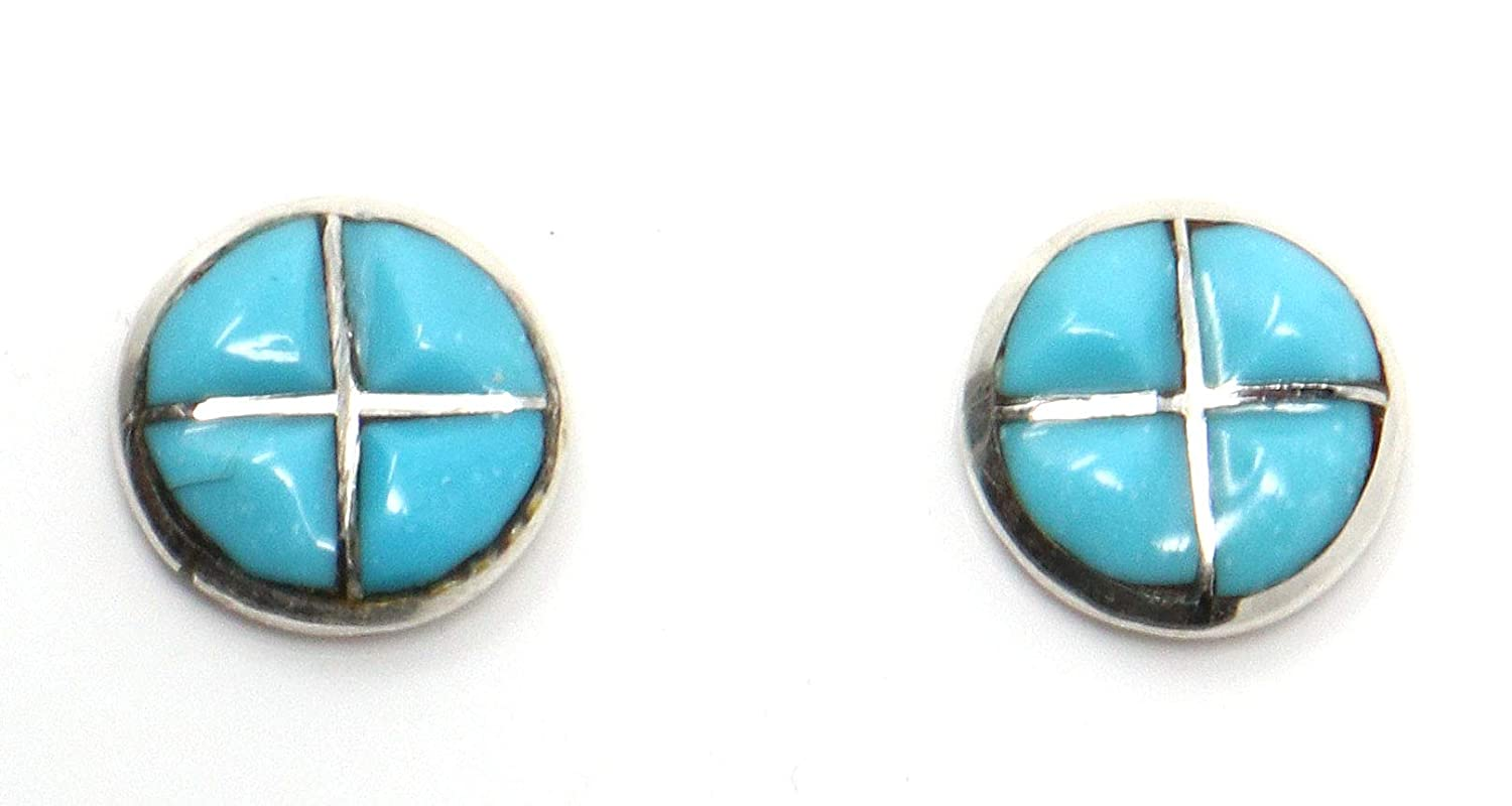 Turquoise Inlay Post Earrings by Malani