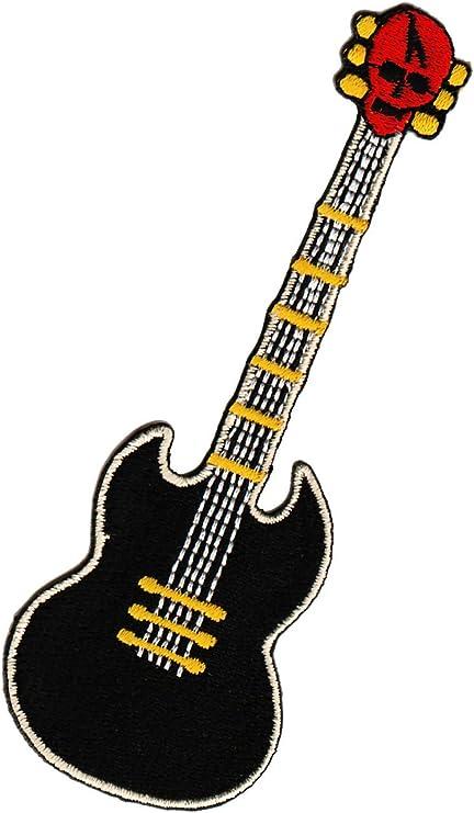 Guitarra Calavera coser Badge/Picardia: Amazon.es: Coche y moto