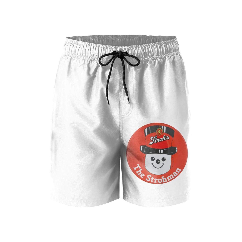 jdadaw Mens Beach Shorts Strohs-Detroit-Beer-Logo-Sign Summer Quick Dry Swimming Pants