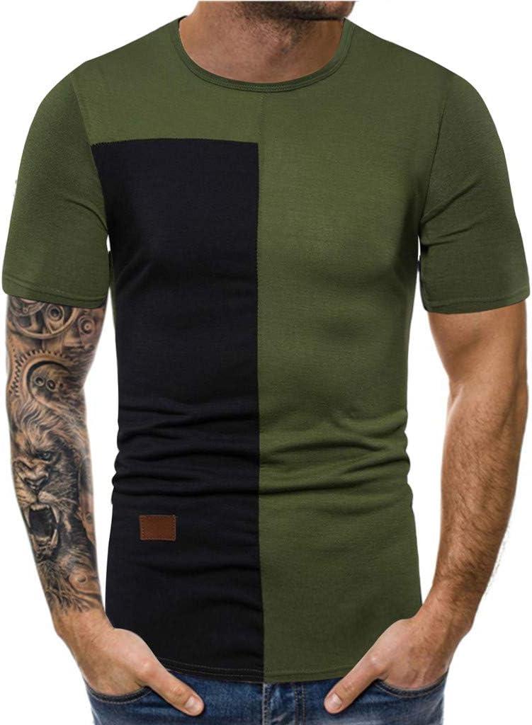 Ninasill Hot!Mens Large Size Funny Print Splicing Short Sleeve T-Shirt Breathable Fashion Sporty Tops Casual Tank Tops Black
