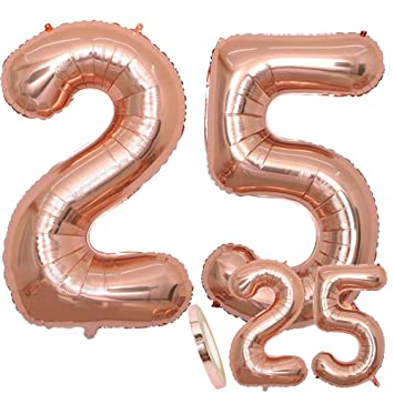cholinchin Globos Número 25 Cumpleaños XXL Oro Rosa - Globo de lámina Gigante en 2 tamaños 40