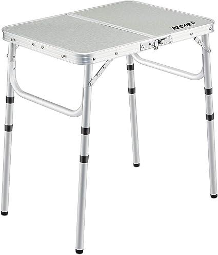 Redamp Table de Camping Pliante en Aluminium avec Hauteur r/églable pour Pique-Nique et Jardin