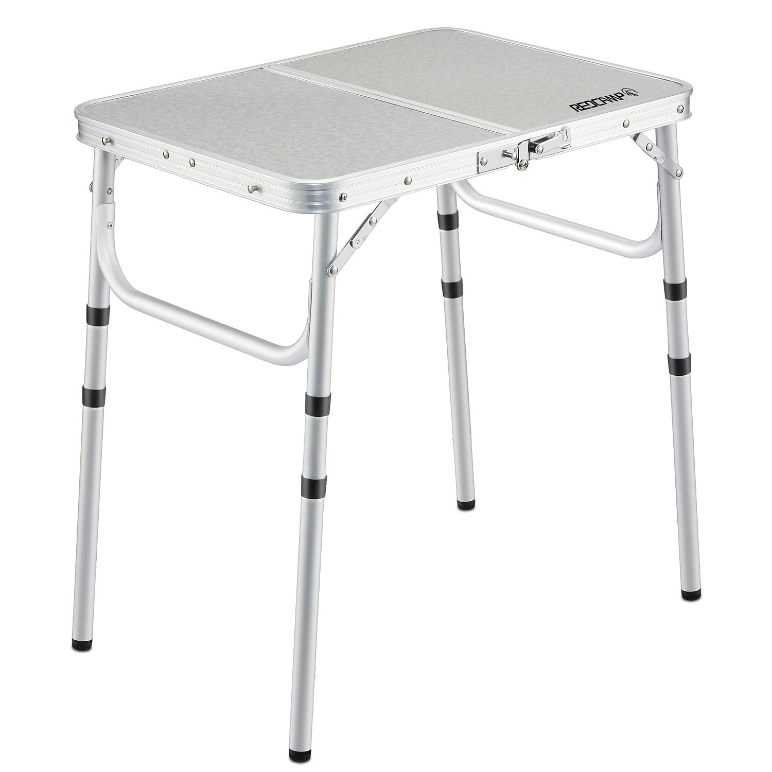 REDCAMP Small Folding Table 2 Foot, Adjustable Height Lightweight Portable Aluminum Camping Table for Picnic Beach Outdoor Indoor, White 24 x 16 inch (3 Heights) by REDCAMP