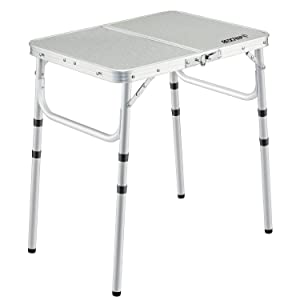 REDCAMP Small Folding Table 2 Foot, Adjustable Height Lightweight Portable Aluminum Camping Table for Picnic Beach Outdoor Indoor, White 24 x 16 inch (3 Heights)