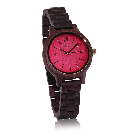Angie Wood Creations - Reloj de madera para mujer con esfera colorida
