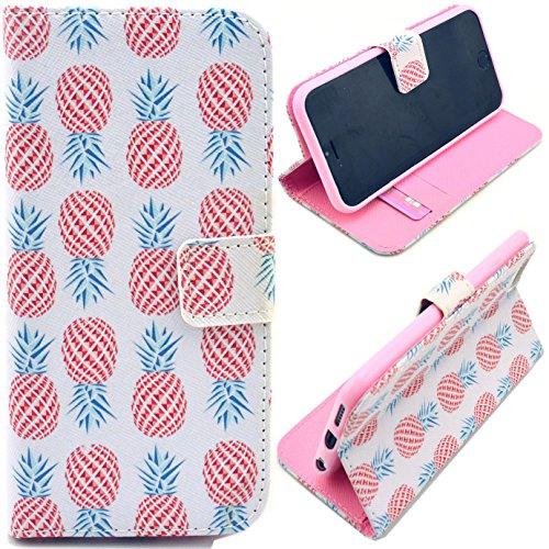 Voguecase® Schutzhülle Tasche Leder Brieftasche Hülle Case Cover für Apple iPhone 6 4.7 Zoll (Runde Ananas) + Gratis Universal Eingabestift