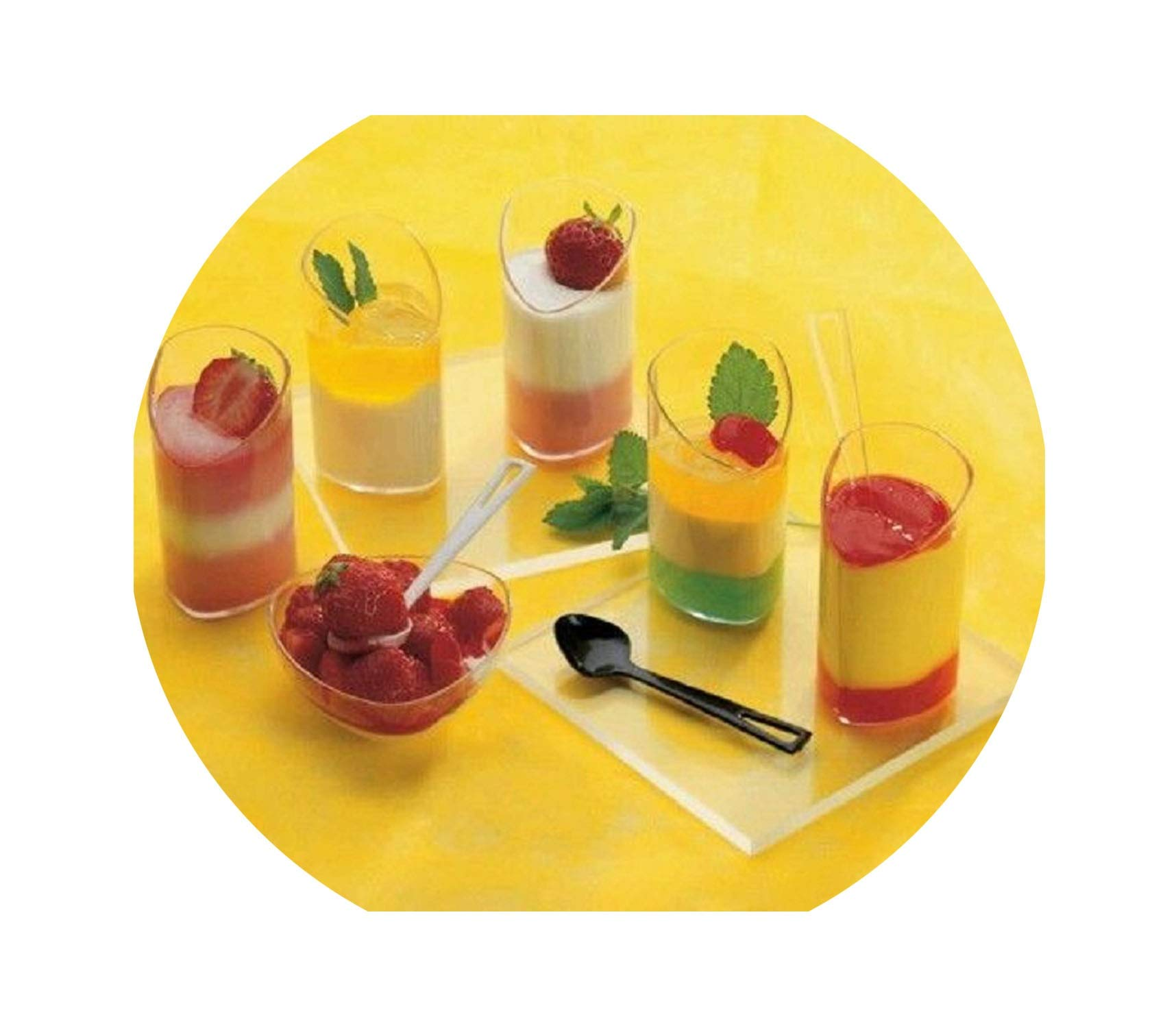 25pcs/lot 80ml Hard Plastic Disposable Tableware 2.5oz Small Dessert Cup Cake Cube Cup Suit For Festival Wedding