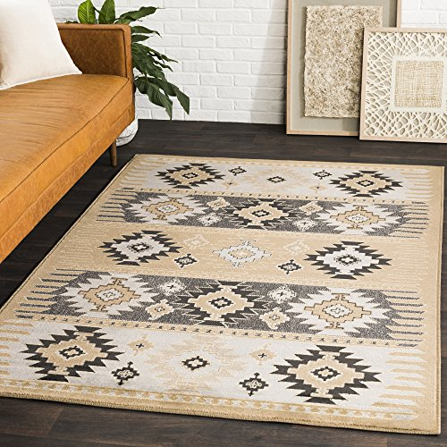 Hepburn Camel, Gray and Black Transitional Area Rug 8'10