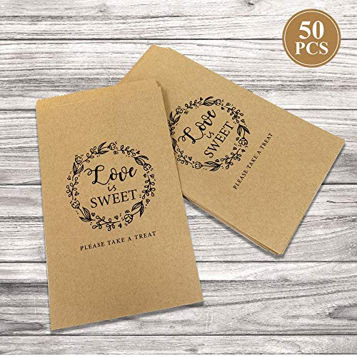 - 50Pcs Wedding Favors Candy Buffet Bags - Brown Kaft Paper Wedding Favor Rustic Bags Good for Treat Snacks or Cookie Buffets - Please Take A Treat