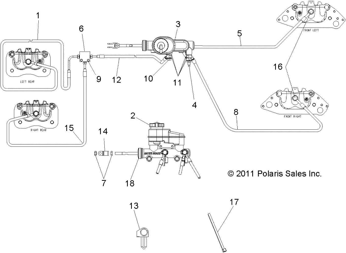 14 Polaris Ranger 570 Crew Front Left Brake Line Hose