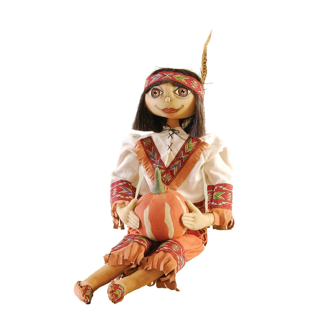 Sean Indian Boy Fabric Figurine with Hand-Painted Face and Intricate Detailing