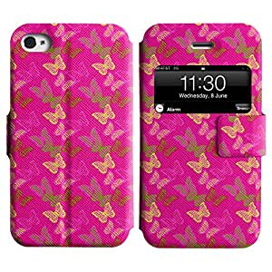 LEOCASE mariposa surtidos Funda Carcasa Cuero Tapa Case Para Apple iPhone 4 / 4S No.1003715